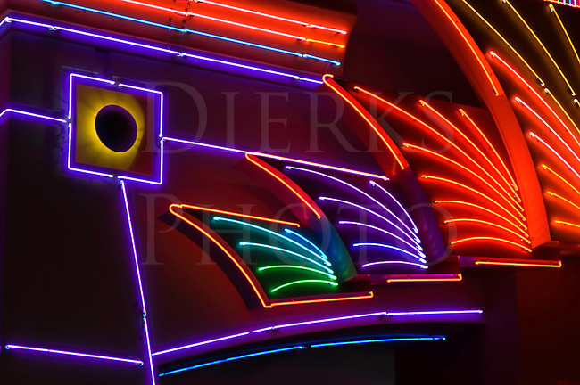 Neon abstract in vivid colors photographed on a moonless night.