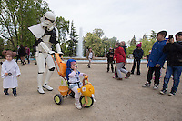 """Hungarian Star Wars fans celebrate the """"May the 4th be with you"""" day marching dressed as their favourite movie characters in downtown Budapest, Hungary on May 04, 2016. ATTILA VOLGYI"""