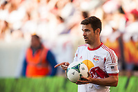 Heath Pearce (3) of the New York Red Bulls on a throw in. The New York Red Bulls and the Columbus Crew played to a 2-2 tie during a Major League Soccer (MLS) match at Red Bull Arena in Harrison, NJ, on May 26, 2013.