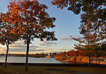 Port Washington, New York, U.S. 27th October 27, 2013. Autumn colors trees red on North Shore of Long Island at dusk