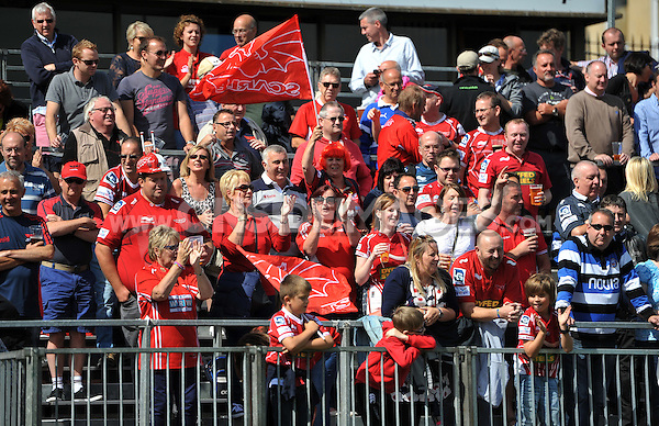 A general view of the Scarlets supporters in the crowd. Pre-season friendly match, between Bath Rugby and the Scarlets on August 16, 2014 at the Recreation Ground in Bath, England. Photo by: Patrick Khachfe / Onside Images