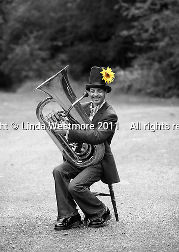"Gary Holder, musician with the ""Edge of Chaos Orchestra"" during a break from recording at the Blue Coconut Club, Pulborough, West Sussex."