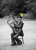 """Gary Holder, musician with the """"Edge of Chaos Orchestra"""" during a break from recording at the Blue Coconut Club, Pulborough, West Sussex."""
