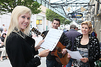 13/10/2010. Crystal Swing Busking. Dervla , Derek and Mary Murray  Burke from Cork band Crystal Swing before they launch the busking contest outside the Gaiety Theatre, Dublin for the Mooney radio show on RTE. Picture James Horan/Collins Photos