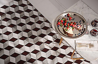 Euclid Grand, a waterjet mosaic, shown in polished Red Lake, polished Afyon White, and honed Horizon, is part of the Illusions™ Collection by Sara Baldwin Designs for New Ravenna.