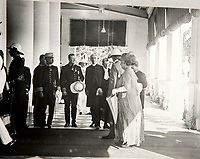 BNPS.co.uk (01202 558833)<br /> Pic: PhilYeomans/BNPS<br /> <br /> Viscount Goschen and his wife arrive at Governers House in Madras 1924.<br /> <br /> Last Days of the Raj - A fascinating family album from one of the last Viceroy's of India reveal Britain's 'Jewel in the Crown' in all its splendour.<br /> <br /> The family album of Viscount George Goschen has been unearthed after 90 years, and provide's an amazing snapshot of the pomp and pageantry of a wealthy and powerful British family in India in the 1920s and 30's.<br /> <br /> They show the Governor of Madras and his family enjoying a lavish lifestyle of parades, banquets and hunting and horse racing in the last decades of the Raj.<br /> <br /> At the time, Gandhi was organising peasants, farmers and labourers to protest against excessive land-tax and discrimination. <br /> <br /> The album consists of some 300 large photographs. They have remained in the family for 90 years but have now emerged for auction following a house clearance and are tipped to sell for &pound;200.
