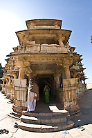 Entrance to a three storied temple that is  made in the Indo-Aryan style of architecture and has  intricate carvings on the pillars with prominent friezes.<br /> (Photo by Matt Considine - Images of Asia Collection)