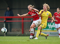 Jayne Ludow of Arsenal is challenged by Adela Pivonkova - Arsenal Ladies vs Sparta Prague - UEFA Women's Champions League at Boreham Wood FC - 11/11/09 - MANDATORY CREDIT: Gavin Ellis/TGSPHOTO - Self billing applies where appropriate - Tel: 0845 094 6026