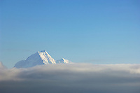 Summit of mount cook rising above clouds into blue sky, New Zealand