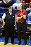 11 September 2015: Stanford head coach John Dunning (right) with assistant coach Denise Corlett (left). The Duke University Devils hosted the Stanford University Cardinal at Cameron Indoor Stadium in Durham, NC in a 2015 NCAA Division I Women's Volleyball contest. Stanford won the match 3-2 (17-25, 25-22, 17-25, 25-23, 10-15).