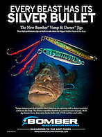 Vamp & Darter Jigs by Bomber Saltwater Grade, magazine advertisement, full page, USA, Image ID: Black-Grouper-0019-V