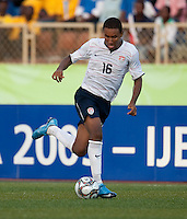 Juan Agudelo controls the ball. US Under-17 Men's National Team defeated United Arab Emirates 1-0 at Gateway International  Stadium in Ijebu-Ode, Nigeria on November 1, 2009.