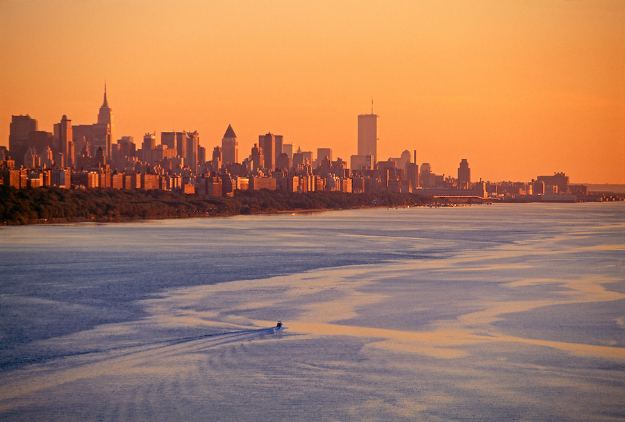 Manhattan Skyline at sunset from George Washington Bridge, New York City, New York