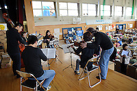 Kesennuma, Miyagi Prefecture, Japan, May 2, 2011.The Tokyo Sinfonia travelled to Miyagi Prefecture in north east Japan to performing for victims of the March 11 2011 earthquake and Tsunami.