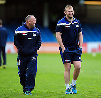 Sale Sharks Director of Rugby Steve Diamond shares a joke with Jonathan Mills during the pre-match warm-up. Aviva Premiership match, between Bath Rugby and Sale Sharks on April 23, 2016 at the Recreation Ground in Bath, England. Photo by: Patrick Khachfe / Onside Images