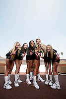 10 August 2010:  Freshman teammates  on the Pac-10 NCAA College Women's Volleyball team for the USC Trojans Women of Troy photographed at the Galen Center on Campus in Southern California.  Sam Hirschmann, Sara Shaw, Falyn Fonoimoana, Alexis Olgard, Kirby Burnham, Natalie Hagglund Fight On. .Images are for Personal use only.  No Model Release, No Property Release, No Commercial 3rd Party use. .Photo Credit should read: &copy;2010ShellyCastellano.com