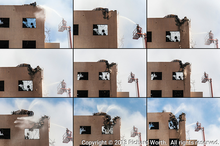 This series of images demonstrates the careful dismantling of a portion of the old Eden Hospital in Castro Valley, California.