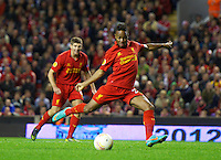 LIVERPOOL, ENGLAND - Thursday, October 4, 2012: Liverpool's Raheem Sterling in action against Udinese Calcio during the UEFA Europa League Group A match at Anfield. (Pic by David Rawcliffe/Propaganda)