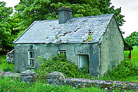 Derelict old period cottage in need of renovation near The Burren at Kilfenora, County Clare, West of Ireland