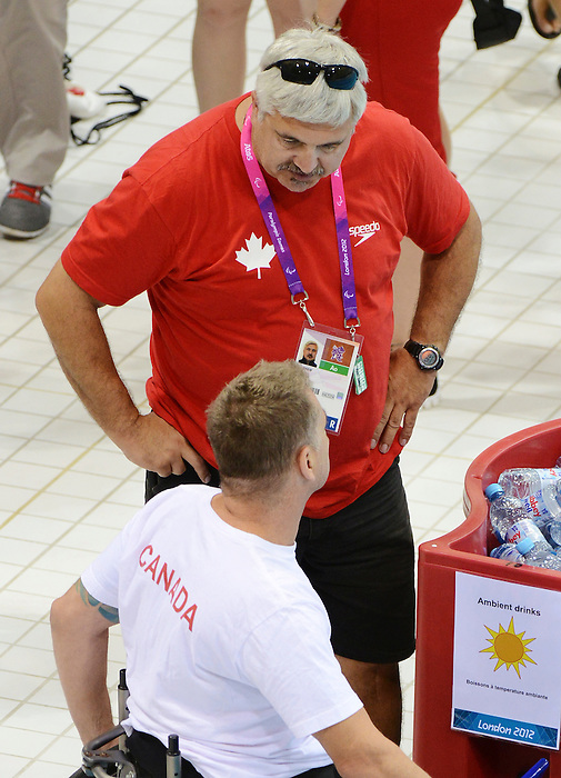 LONDON, ENGLAND – 08/24/2012: Reg Shaw, coach with the Canadian Swim Team, during a training session at the London 2012 Paralympic Games at The Aquatic Centre. (Photo by Matthew Murnaghan/Canadian Paralympic Committee)