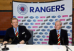 "Walter Smith answers the call and is the new ""short term"" manager of Rangers at a press conference with David Murray in January 2007, installed after Paul Le Guen's departure to stabilise the club"