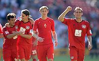 Fussball  1. Bundesliga  Saison 2013/2014  2. Spieltag VfB Stuttgart - Bayer Leverkusen     17.08.2013 JUBEL Bayer; Stefan Reinartz, Stefan Kiessling, Philipp Wollscheid  und Giulio Donati (v. re.)