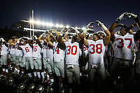The Ohio State Buckeyes sing the school song Carmen Ohio after the NCAA football game at Memorial Stadium in Berkeley, California,  Saturday afternoon, September 14, 2013. The Ohio State Buckeyes defeated the California Golden Bears 52 - 34. (The Columbus Dispatch / Eamon Queeney)