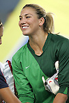 06 August 2008: Hope Solo (USA).  The women's Olympic team of Norway defeated the United States women's Olympic soccer team 2-0 at Qinhuangdao Olympic Center Stadium in Qinhuangdao, China in a Group G round-robin match in the Women's Olympic Football competition.