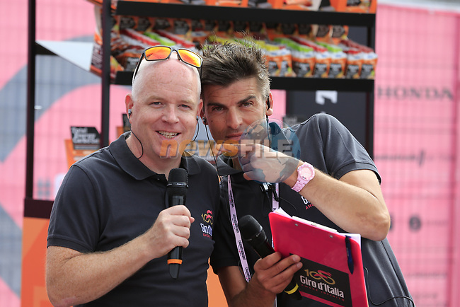 Commentators Anthony McCrossan and Italian counterpart at sign on before Stage 2 of the 100th edition of the Giro d'Italia 2017, running 221km from Olbia to Tortoli, Sardinia, Italy. 6th May 2017.<br /> Picture: Eoin Clarke | Cyclefile<br /> <br /> <br /> All photos usage must carry mandatory copyright credit (&copy; Cyclefile | Eoin Clarke)