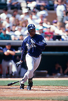 SCOTTSDALE, AZ - Ken Griffey Jr. of the Seattle Mariners bats during a spring training game against the San Francisco Giants at Scottsdale Stadium in Scottsdale, AZ in 1997. Photo by Brad Mangin