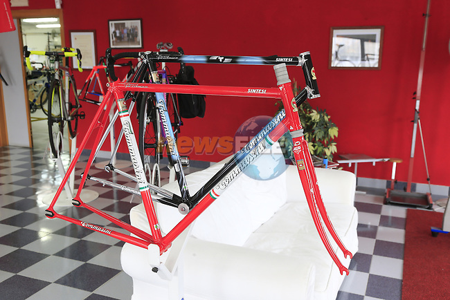 Classic frames on display in the showroom at the Tommasini factory based in Grosseto, Tuscany, Italy 6th March 2017.<br /> Picture: Eoin Clarke | Newsfile<br /> <br /> <br /> All photos usage must carry mandatory copyright credit (&copy; Newsfile | Eoin Clarke)
