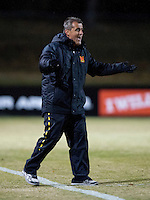 Maryland head coach Sasho Cirovski disagrees with the call of a referee during the ACC tournament quarterfinals at Ludwig Field in College Park, MD.  Maryland defeated Boston College, 2-0.