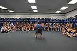 Head coach Mike Holcomb addresses his team after practice on Thursday, Oct. 13, 2011, in Jackson, Ky. The team had just finished practice preparing for its big game against the Morgan County Cougars on Friday. | Photo by Taylor Moak