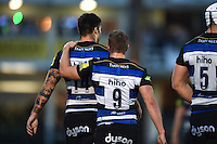 Matt Banahan of Bath Rugby is congratulated on his try by team-mate Chris Cook. West Country Challenge Cup match, between Bath Rugby and Exeter Chiefs on October 10, 2015 at the Recreation Ground in Bath, England. Photo by: Patrick Khachfe / Onside Images