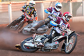 Heat 4: Shields (red), Woffinden (white) and Robson - Lakeside Hammers vs Wolverhampton Wolves - Sky Sports Elite League Speedway at Arena Essex Raceway, Purfleet - 24/05/10 - MANDATORY CREDIT: Gavin Ellis/TGSPHOTO - Self billing applies where appropriate - Tel: 0845 094 6026