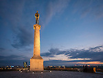 Kalemegdan Fortress, evening, Belgrade, Serbia<br /> <br /> The Pobednik monument, erected 1928 and commemorating Serbia's victory of the Ottoman and Austro-Hungarian Empire during the Balkan Wars and WWI. <br /> <br /> Ivan Mestrovic, sculptor
