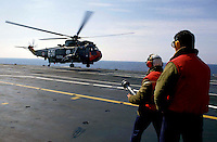 "The Italian aircraft carrier  ""G. Garibaldi""..Antisubmarine helicopters SH-3D ..Fireproof service on bridge of flight"