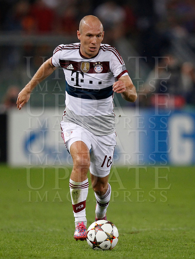 Calcio, Champions League, Gruppo E: Roma vs Bayern Monaco. Roma, stadio Olimpico, 21 ottobre 2014.<br /> Bayern&rsquo;s Arjen Robben in action during the Group E Champions League football match between AS Roma and Bayern at Rome's Olympic stadium, 21 October 2014.<br /> UPDATE IMAGES PRESS/Isabella Bonotto