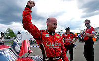 Jon Fogarty celebrates after winning the pole posiiton for the Crown Royal 200 at Watkins Glen International Raceway in Watkins Gelns , NY, August 6, 2009. (Photo by Brian Cleary/www.bcpix.com)