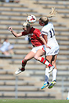 06 October 2013: Maryland's Ashley Spivey (8) and North Carolina's Kelly McFarlane (11). The University of North Carolina Tar Heels hosted the University of Maryland Terrapins at Fetzer Field in Chapel Hill, NC in a 2013 NCAA Division I Women's Soccer match. UNC won the game 3-1.
