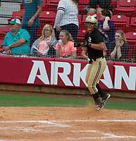 NWA Democrat-Gazette/ANTHONY REYES @NWATONYR<br /> Jessicca Williams of De Queen scores against Valley View Friday, May 19, 2017 in the 5A State Softball Championship at Bogle Park in Fayetteville. De Queen won 4-1.