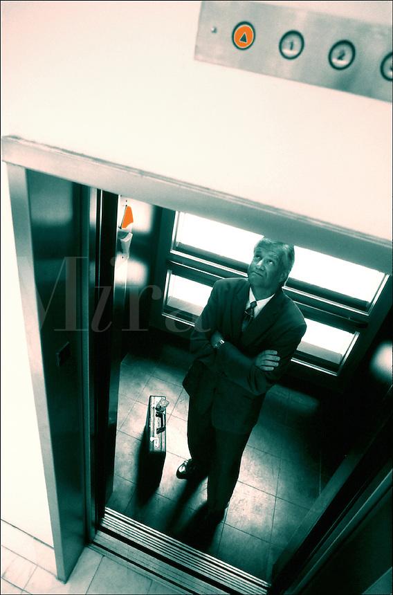 Man waiting on an elevator