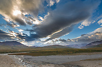 Braided river flowing out of the Alaska range, Polychrome mountain, Denali National Park, Alaska.