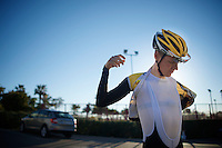 Steven Kruijswijk (NLD/LottoJumbo) getting ready for a training ride<br /> <br /> Team Lotto Jumbo winter training camp<br /> Moj&aacute;car, Spain, January 2015