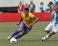 Brazil forward Hulk (20) on the attack. In an international friendly (Clash of Titans), Argentina defeated Brazil, 4-3, at MetLife Stadium on June 9, 2012.