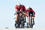 Trek-Segafredo team in action during the 1st stage of the race of the two seas, 52nd Tirreno-Adriatico by NamedSport a 22.7km Team Time Trial around Lido di Camaiore, Italy. 8th March 2017.<br /> Picture: La Presse/Fabio Ferrari | Cyclefile<br /> <br /> <br /> All photos usage must carry mandatory copyright credit (&copy; Cyclefile | La Presse)