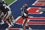 Ole Miss quarterback Barry Brunetti passes at Vaught-Hemingway Stadium in Oxford, Miss. on Saturday, August 13, 2011.