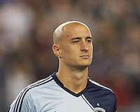 Sporting Kansas City defender Aurelien Collin (78). In the first game of two-game aggregate total goals Major League Soccer (MLS) Eastern Conference Semifinal series, New England Revolution (dark blue) vs Sporting Kansas City (light blue), 2-1, at Gillette Stadium on November 2, 2013.