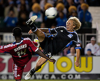 Santa Clara, California - Saturday July 28, 2012: San Jose Earthquakes' Steven Lenhart bicycle kicks the ball during a game against Chicago Fire at Buck Shaw Stadium, Stanford, Ca    San Jose Earthquakes and Chicago Fire tied 0 - 0