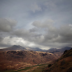 Scafell Pike from Hardknott Roman Fort, Lake District, Cumbria, UK